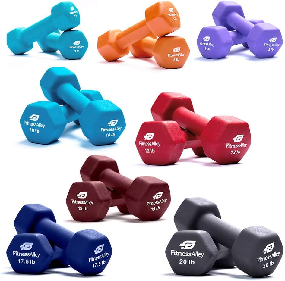 Easy to Read Hand Weights for Muscle Toning 【US in Stock】 Neoprene Coated Dumbbell 12 lbs Pair,Non-Slip Grip Hex Rubber Dumbbells Set of 2 for Home Gym Exercise Equipment