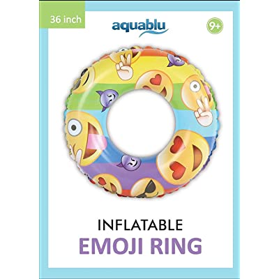 aquablu Inflatable Inner Tube Cool Summer Swim Ring & Lounge Float for Pool Beach Lake River & More 36 Diameter Emoji Design Perfect for Kids Teens & Adults Ages 9+: Toys & Games