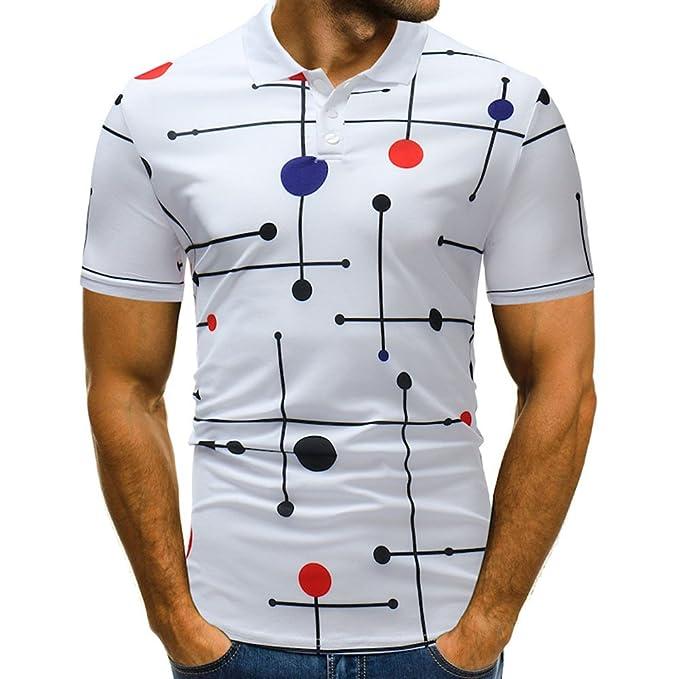 Kinlene Diseño de Botones para Hombre Medias Rebecas Manga Corta Patchwork Camiseta Informal: Amazon.es: Ropa y accesorios