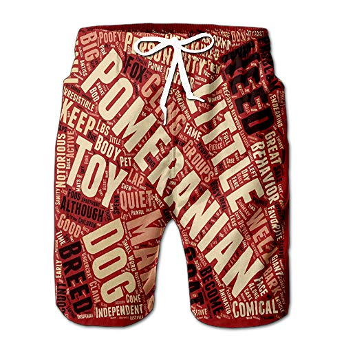 Comical and Sweet The Pomeranian Text Wordcloud Concept Men Swimwear Volley Pants Pocket -