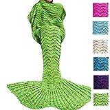 DDMY Mermaid Tail Blanket for Kids Teens Adult, Handmade Wave Mermaid, Crochet Knitting Blanket, Seasons Warm Soft Living Room Sleeping Bag, Best Birthday Christmas Gift, Green