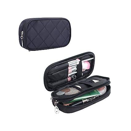 Bolsas de Maquillaje Mujeres Pequeñas, Bolsa de Cosméticos de Viaje, Bolsa de Aseo Hengbo de 2 Capas Con Espejo - Negro