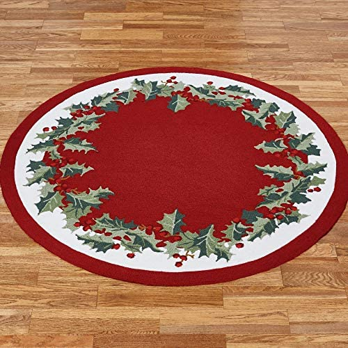 Nourison Holly Border Round Rug Red 5 Round