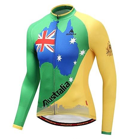 Uriah Men s Cycling Jacket Long Sleeve Reflective Australia Flag Size ... b76a9f3a1