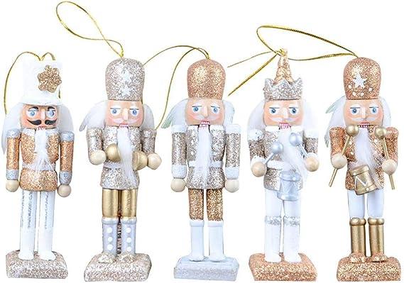 5 Pcs Set Glitter Powder Wooden Nutcrackers Pendant Nutcracker Doll Christmas Ornaments Small Wooden Soldier Nutcracker On Stand Nutcracker Soldier 12cm Multi Colour Festive Embellishments Home Kitchen
