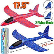 "2 Pack Airplane Toys, 17.5"" Large Throwing Foam Plane, 2 Flight Mode Glider Plane, Flying Toy for Kids, G"