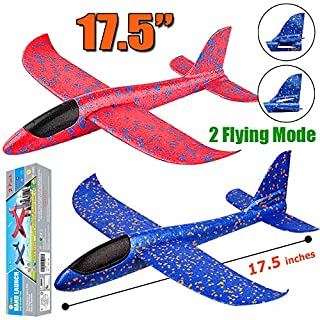 """BooTaa 2 Pack Airplane Toys, 17.5"""" Large Throwing Foam Plane, 2 Flight Mode Glider Plane, Flying Toy for Kids, Gifts for 3 4 5 6 7 Year Old Boy, Outdoor Sport Toys Birthday Party Favors Foam Airplane"""