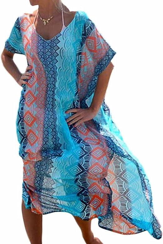 Landove Femme Robe De Plage Longue Grande Taille Kimono Ete Imprime Chemise Mousseline De Soie Maillot De Bain Bikini Couverture Boheme Cover Up Sarong Amazon Fr Vetements Et Accessoires
