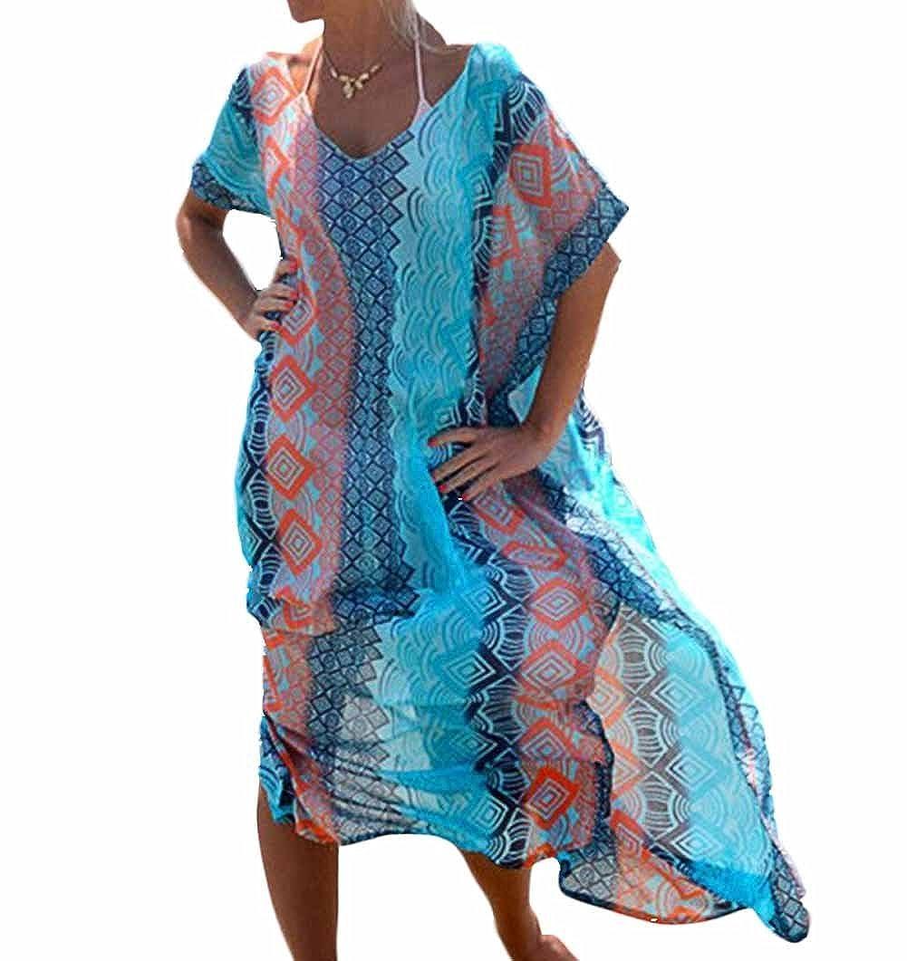 Women Long Chiffon Kimono Boho Hippy Kaftan Caftan Swim Bikini Cover Up Printed Floral Swimwear Beachwear Holiday Maxi Beach Dress - Landove L-CQ-JIHE