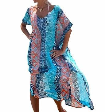 de Impreso Up gasa Caftan Boho Mujeres largo ropa Swim traje Cover de Floral playa baño Bikini Kimono Hippy Kaftan qxTvCP5v