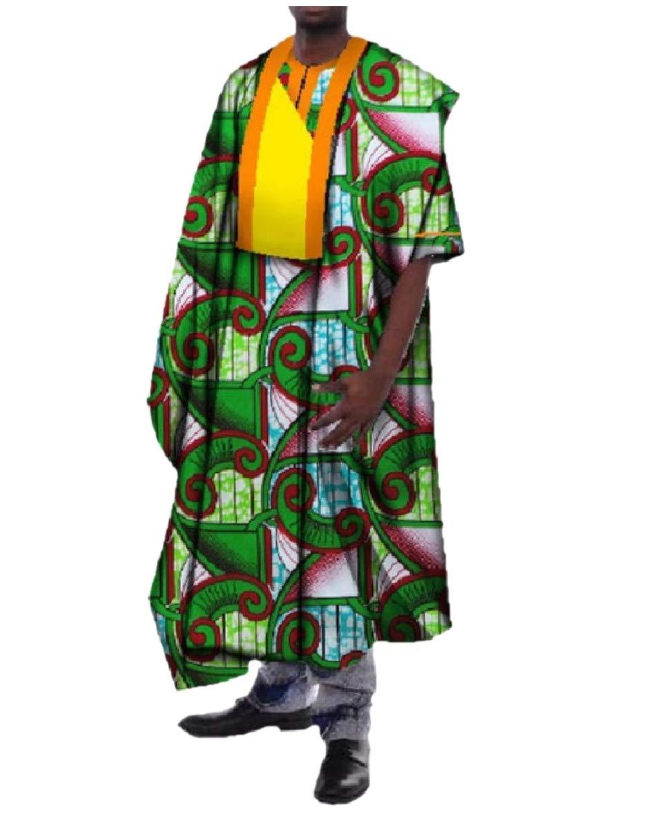 Vska Men's Traditional Maxi Premium Dashiki African Style Cotton Robe Green L