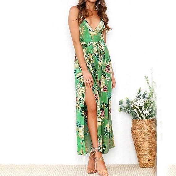 Overdose Tirantes De Vacaciones para Mujer Strain Ladies Maxi Long Summer Boho Print Vestido De Playa Strappy Ladies Sundress Falda De Una LíNea: Amazon.es: ...