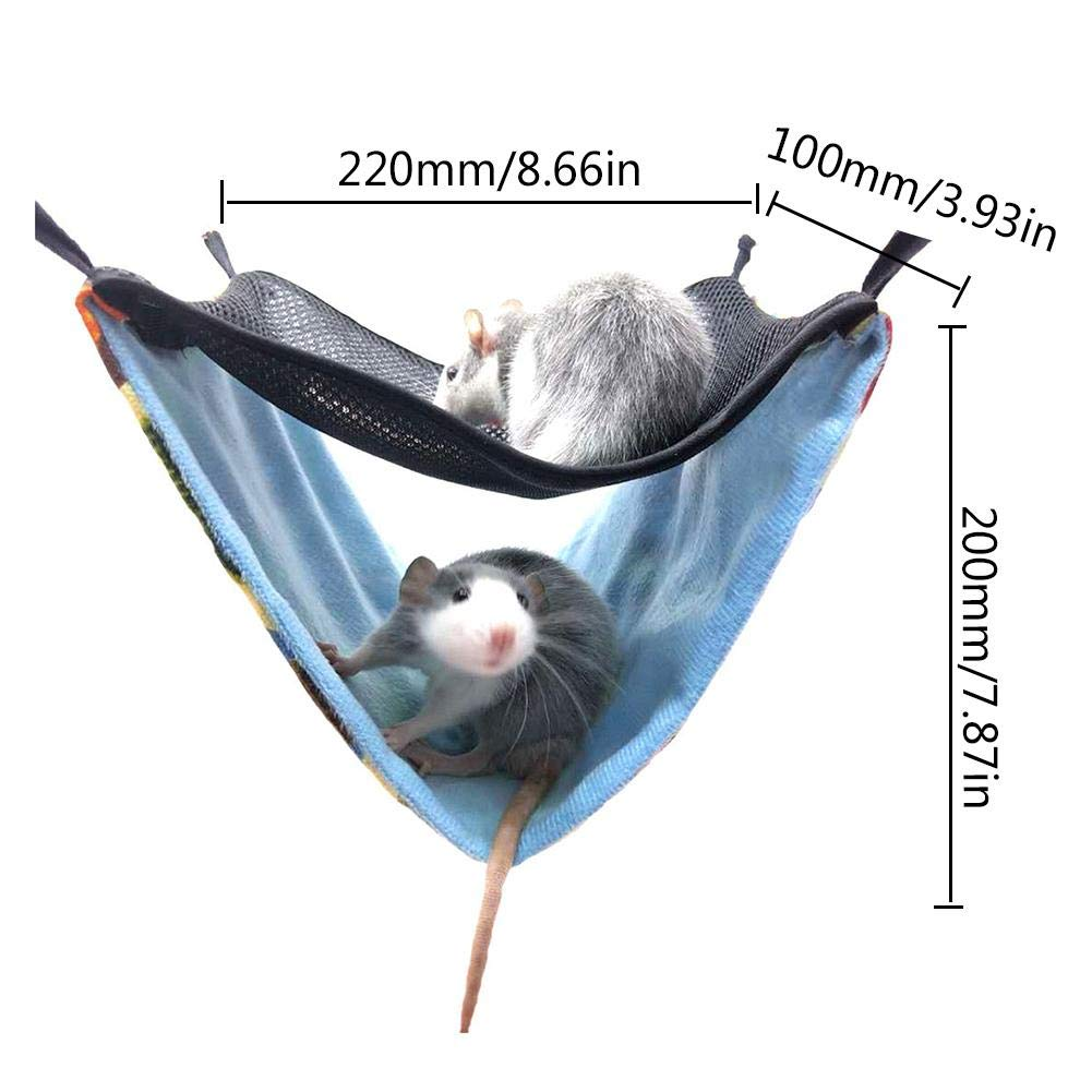 Keptfeet pet Hammocks Hanging Bed Nest Hamster Double Layer Breathable Mesh Hammock for Chinchillas Ferrets Small Pet Cotton Nest