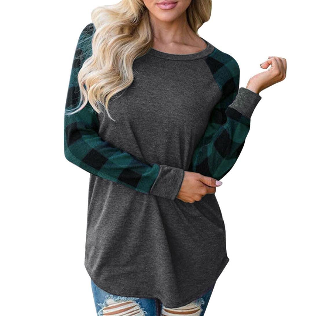 762e94111 Women O-Neck Long Sleeve Patchwork Plaid Sweatshirt Pullover Tops Blouse  Shirt Green