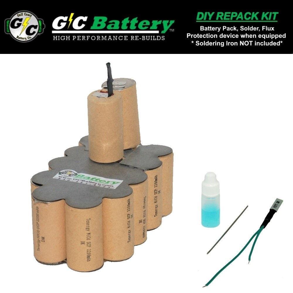 G/C Battery Co. Compatible 2.2Ah NiCd DIY REPACK KIT for MAC Tools 19.2V CI19212-BP Battery