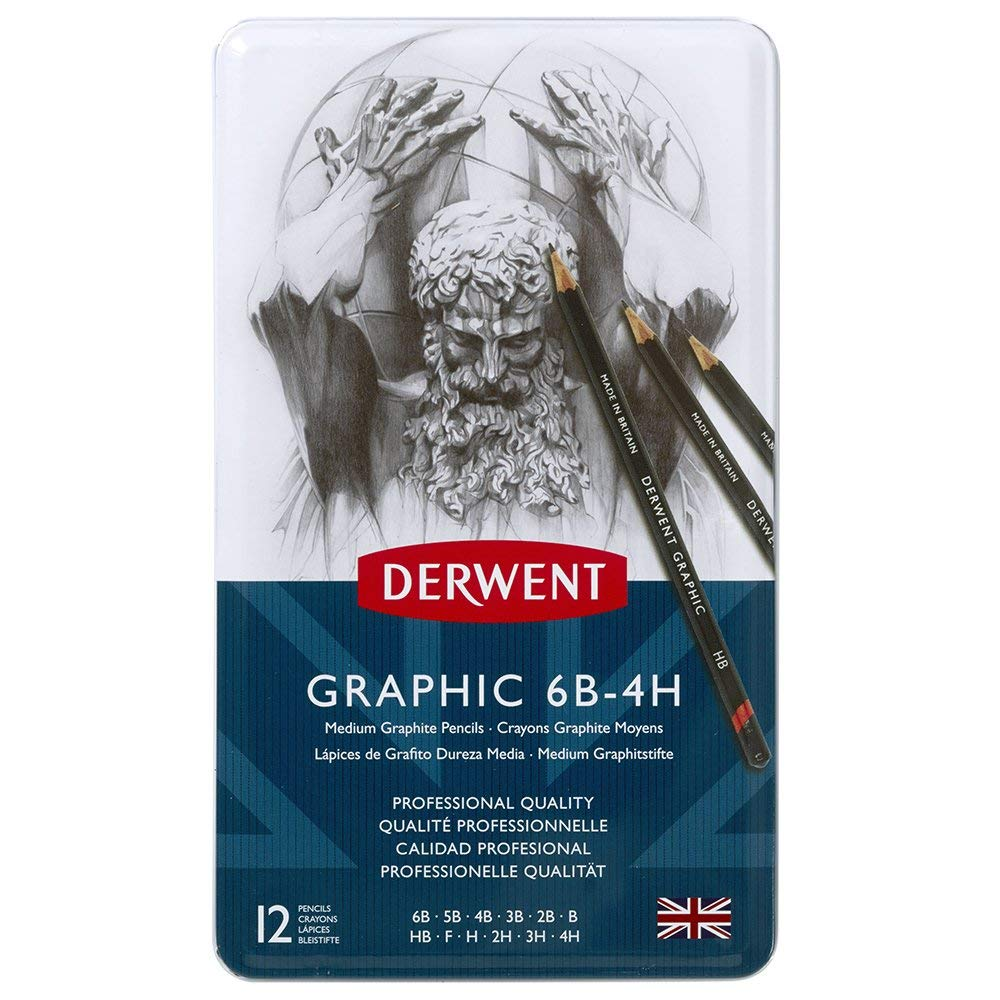 Derwent Graphic Drawing Pencils, Medium, Metal Tin, 12 Count (34214) by Derwent