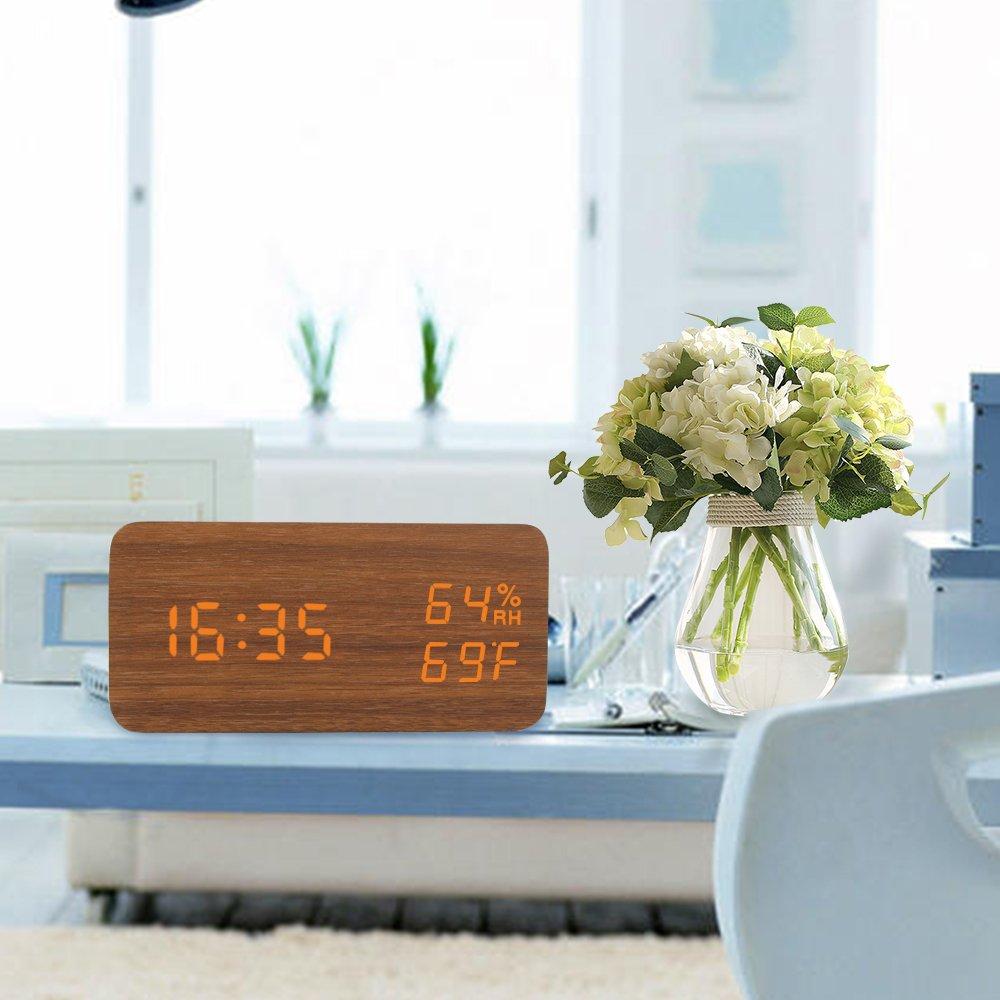 デジタル置時計 LED 木目調