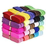 elastic eBoot 25 Pieces Elastic Stretch Foldover Elastics Hair Ties Headbands, 25 Colors, 38 Inches by 3/ 5 Inch