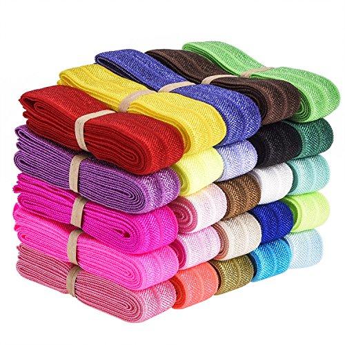 For Sale! eBoot 25 Pieces Elastic Stretch Foldover Elastics Hair Ties Headbands, 25 Colors, 38 Inche...