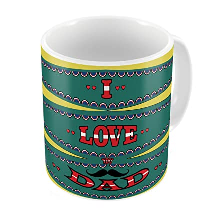 Indigifts Papa Gift Anniversary I Love You Dad Trending Coffee Mug 330 Ml Yellow