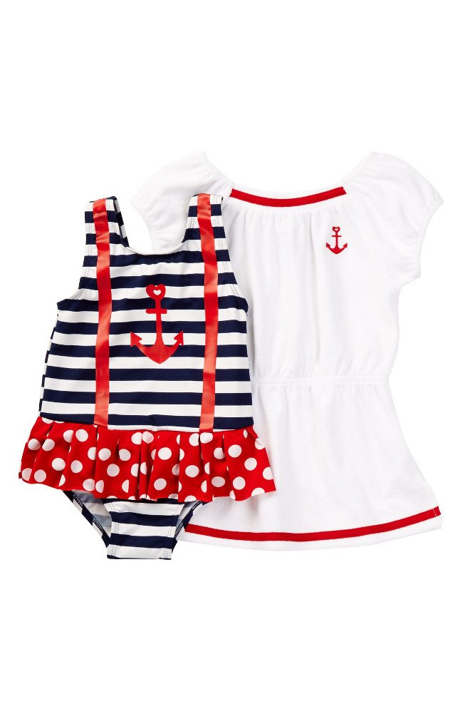 Baby Buns Little Girl Nautical Babe Swimsuit & Coverup Set