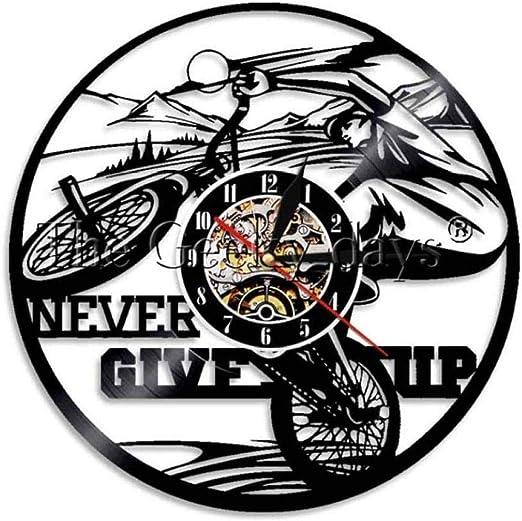 1 pieza Nunca te rindas Decoración Ciclista Reloj de pared ...