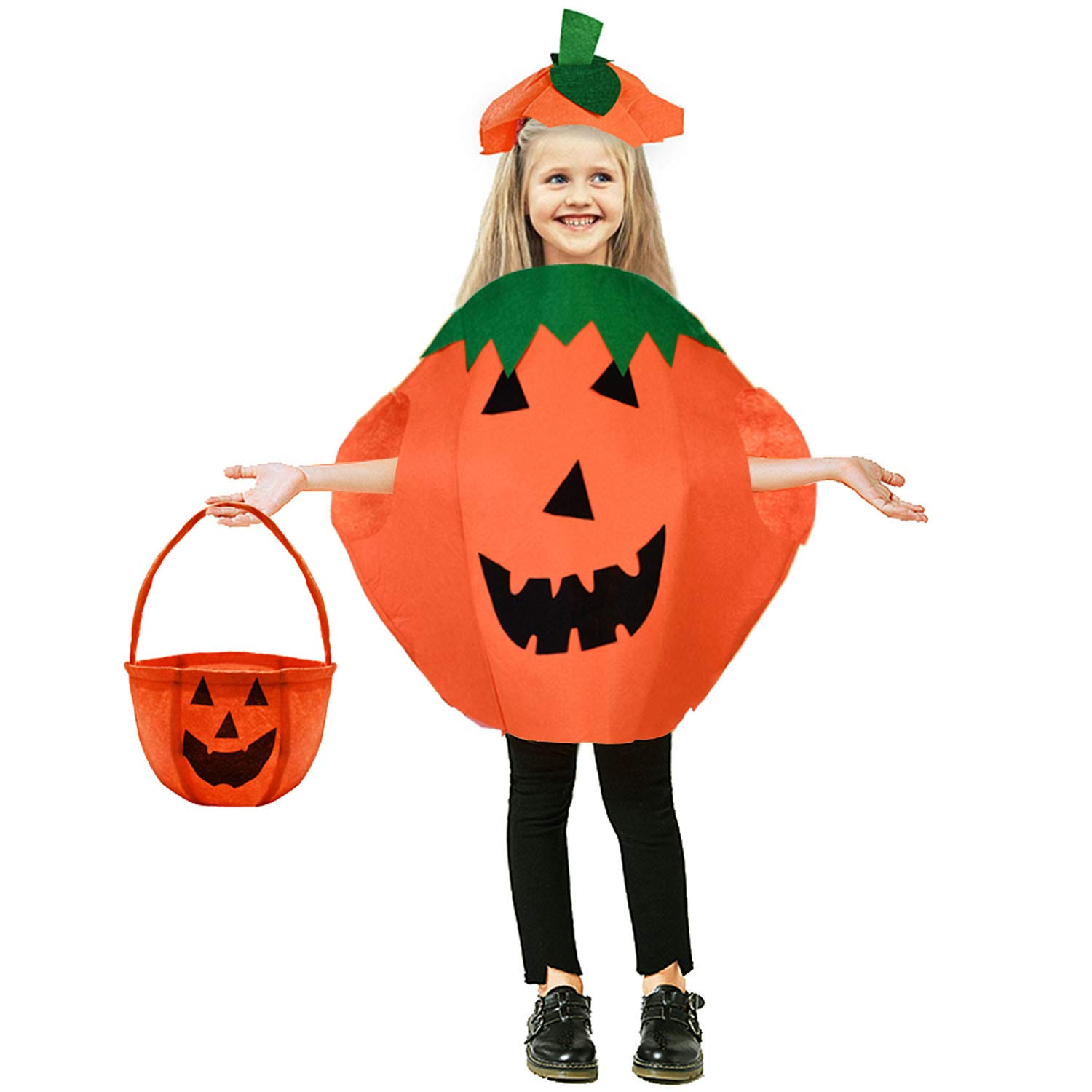 TiiMi Party Halloween Pumpkin Costume Set for Kids Pumpkin Candy Bag Children Cosplay Party Clothes for Halloween Party