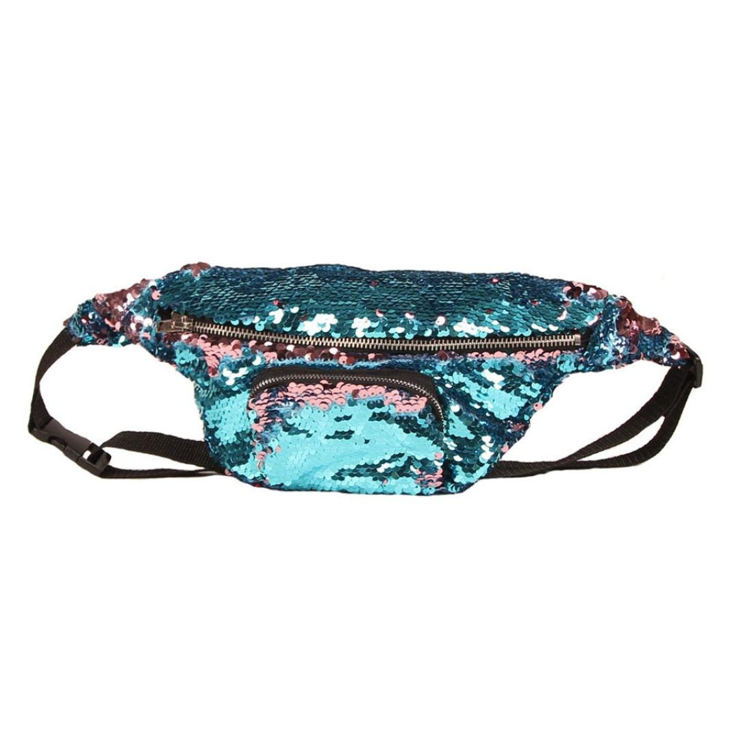 Inkach Waist Pack Bags - Unisex Sequins Fanny Packs Sport Running Belly Waist Hip Packs Bumbag (D)