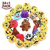KINGSO 25 Pack 2.5'' Mini Emoji Plush Pillow Emoticon Keychain Decoration Kids Party Supplies Favors