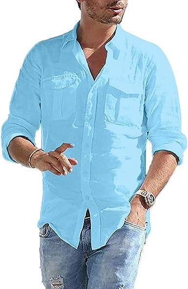 Camisa de lino para hombre de algodón holgado con bolsillo de lino sólido de manga larga retro Tops blusa camisas de golf tío negro, blanco, azul: Amazon.es: Ropa y accesorios