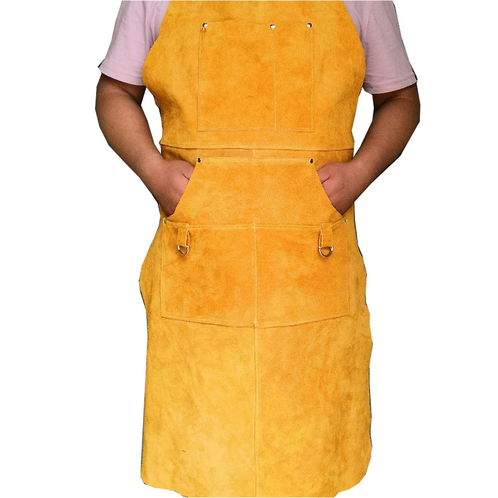 A Leather Welding Apron Protective Clothing For Welders –Heavy Duty Heat & Flame-Resistant Work Apron Tool Apron With 5 Pocket For Men And Women Welding Barbecue Grinding(HSW-112) by Hersent (Image #2)