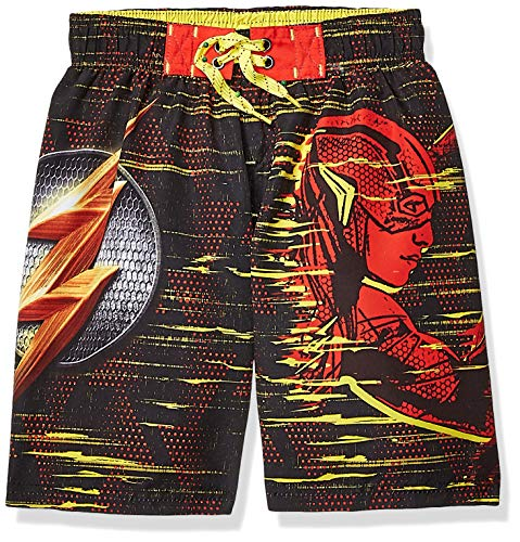 Warner Brothers Little Boys' Flash Swim Shorts, Black/red, 5/6 ()