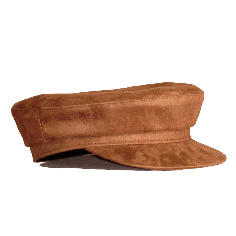 Newsboy Women Suede Leather Brown Baker Flat Sweet Vintage Solid Classic Painter Hat Men,Brown caps,55-57 cm