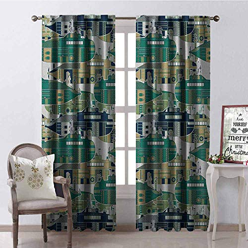 - Gloria Johnson Retro 99% Blackout Curtains Old School Submarine Concept with Torpedoes Vintage Hand Drawn Squares Circles Image for Bedroom- Kindergarten- Living Room W52 x L84 Inch Multicolor