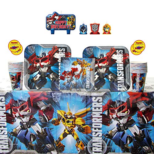 Transformers Party Supplies Pack for 16 Guests: Stickers, Candles, Dinner Plates, Luncheon Napkins, Cups, and Table Cover ()