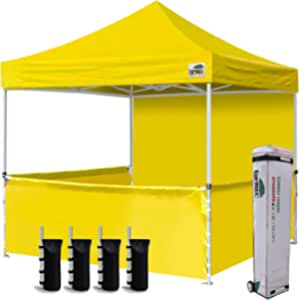 Eurmax 10'x10' Ez Pop-up Booth Canopy Tent Commercial Instant Canopies with 1 Full Sidewall & 3 Half Walls and Roller Bag, with 4 SandBags + 3 Cross-Bar (Yellow)