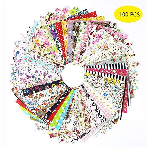 "100 PCS Different Designs 4"" x 4"" (10cm x 10cm) Cotton Craft Fabric Bundle Squares Patchwork Lint DIY Sewing Quilting Scrapbooking"