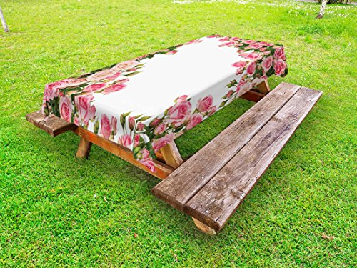 Bush Frame (Lunarable Rose Outdoor Tablecloth, Rose Bushes Frame with Bridal Themed Elements Park Summer Occasions Illustration, Decorative Washable Picnic Table Cloth, 58 X 84 inches, Pink Green White)