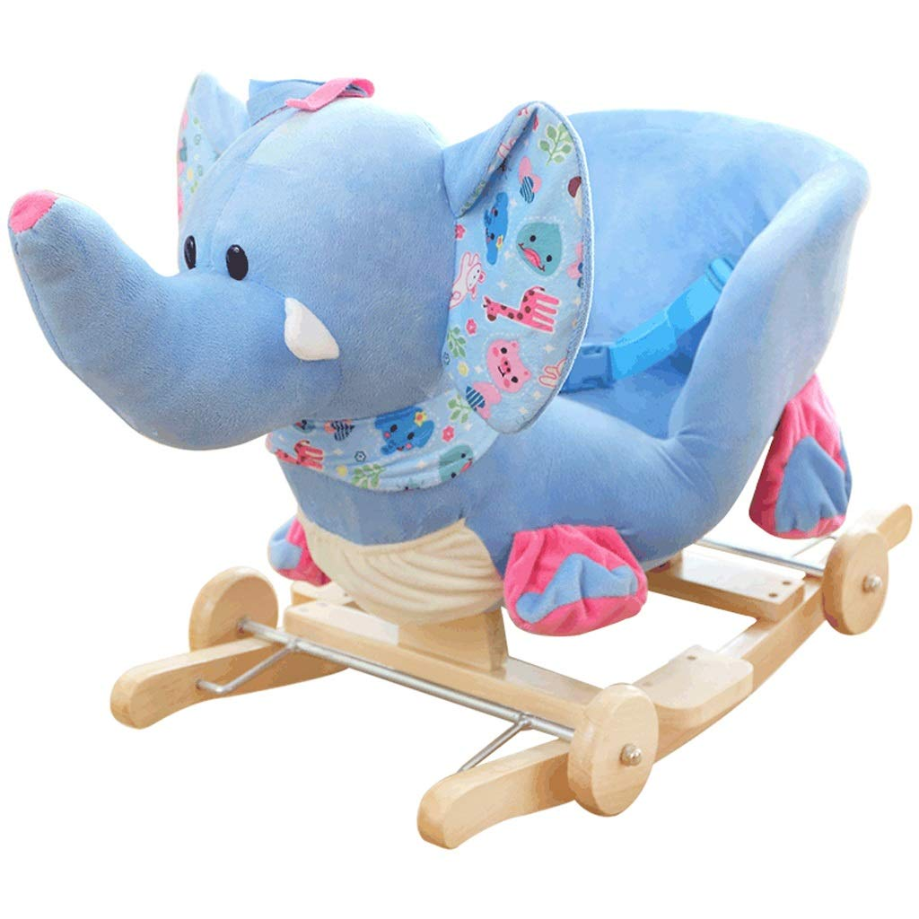 YULAN Children's Toys Solid Wood Rocking Horse Baby Rocking Chair with Music Dual-use Out-of-Band Music Player Support Link Phone Bluetooth