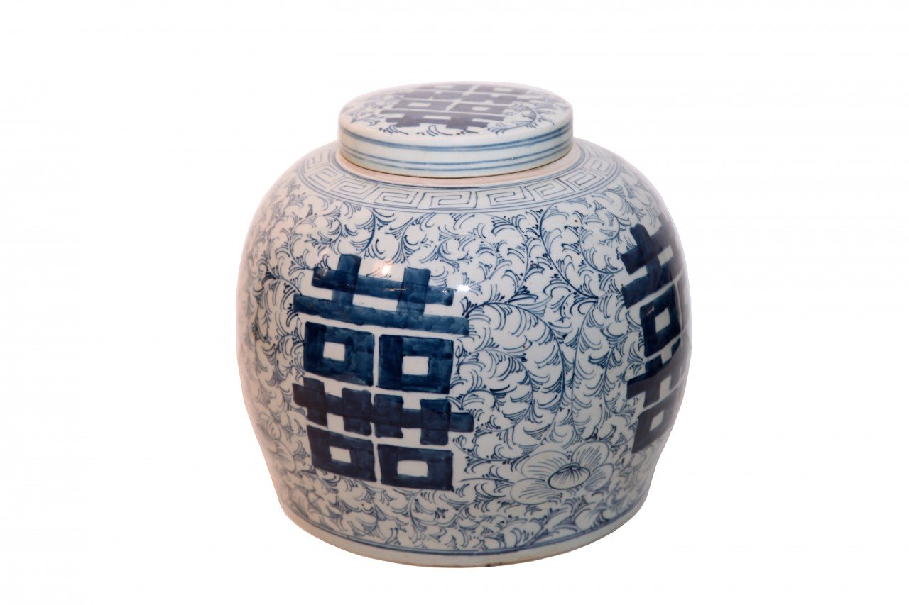 11.5'' H. Blue and White Oriental Ginger Jar with Lid Makes an Outstanding Statement in Any Room - Oriental Furnishings - Quality Asian Furniture Since 1984 by Oriental Furnishings