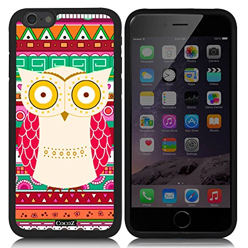 New Apple iPhone 6 s 4.7-inch CocoZ Case Aztec Tribal owl Pretty Interesting Pattern Tup Material Case (Black TPU & Cute owl 27)