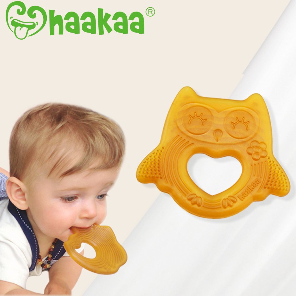 Haakaa Baby Teether Teething Toys Natural Rubber Teether BPA PVC and Phthalate Free (Owl Sleeping) TPS003