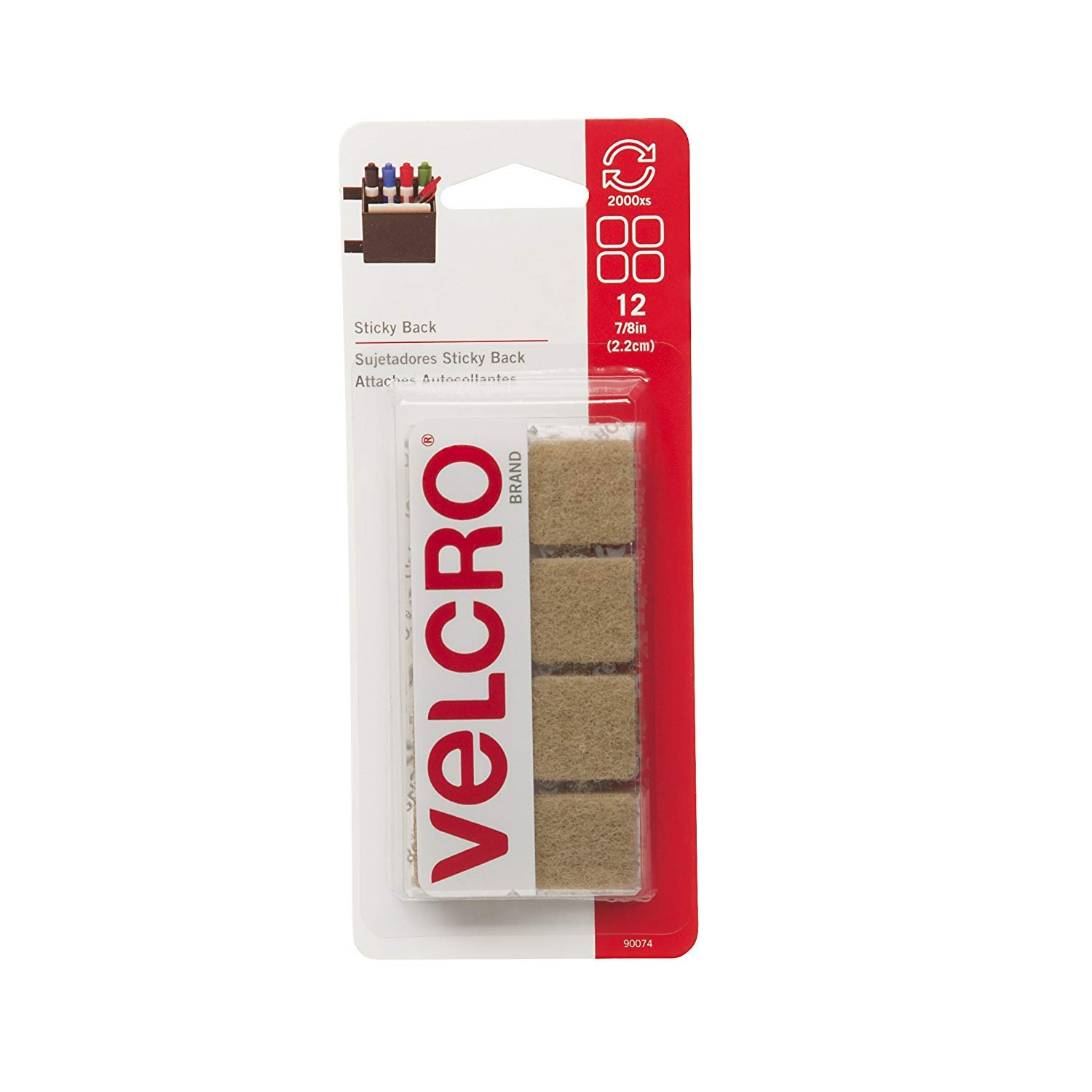 Amazon.com : VELCRO Brand - Sticky Back Hook and Loop Fasteners | Perfect for Home or Office | 7/8in Squares | Pack of 36 | Beige : Office Products