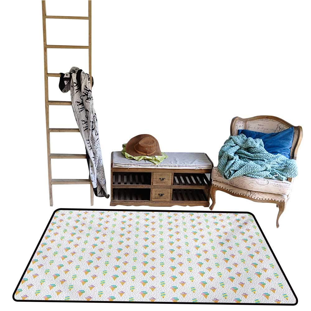 Non-Slip Floor mat,Summer Ice Dessert Collection with Waffle Cones and Sundae Dairy Refreshment 4'x6',Can be Used for Floor Decoration