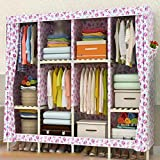 LaaLaa Foldable Closets Oxford cloth Solid wood frame Detachable Bedroom Wardrobes Creative Portable Clothes Closet Wardrobe Extra Strong and Durable,B