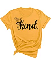 HRIUYI Bee Kind Shirt Women Funny Graphic Tees Summer Casual Short Sleeve Tops Blouse