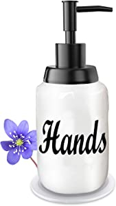 Soap Dispenser–Modern Farmhouse Style Ceramic Dishes Liquid Soap Dispenser–Perfect for Kitchen Counter Décor or Kitchen Sink- Soap Dispenser–White Bottles with Black Pump and Lettering (Hands-B)
