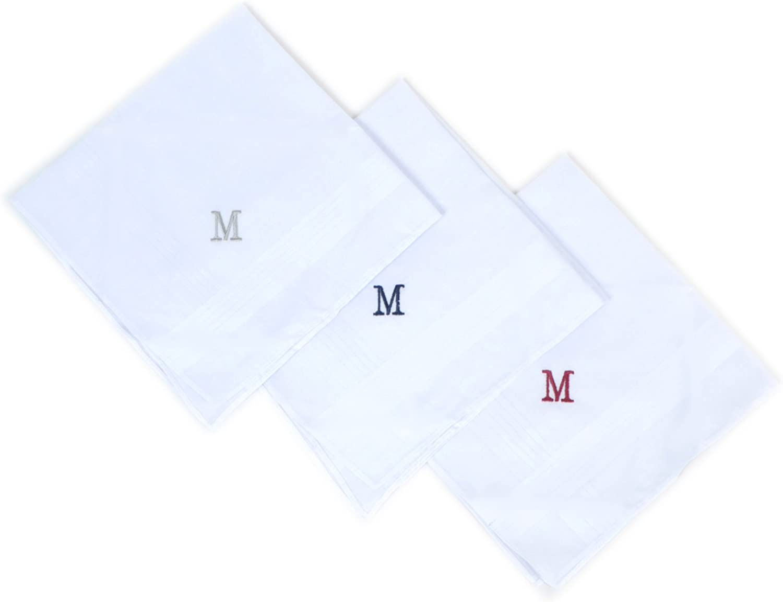 3 X Cotton Mens Handkerchiefs Hanky Monogrammed Initial M Gift Idea for Men