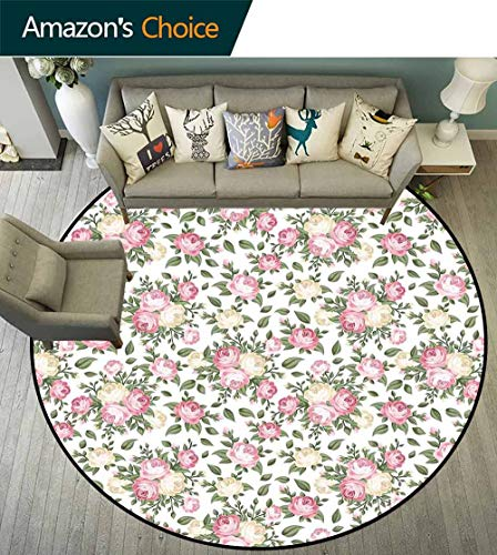- House Decor Round Rug with Fringe,Roses Rosebuds Leaves Bouquet Flower Arrangements Bridal Victorian Style Art Non Slip Absorbent,D-55