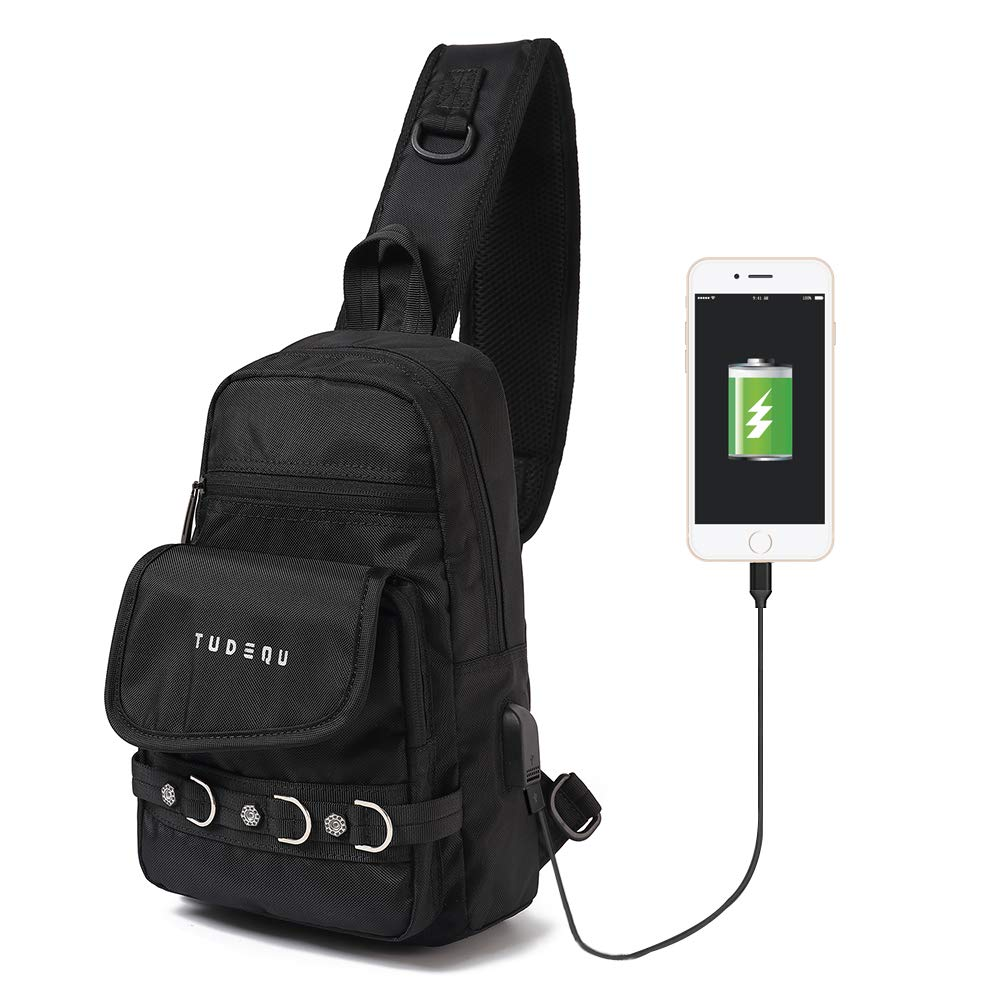 Tudequ Sling Chest Crossbody Backpack Bag Daypack with USB Port for Men Women